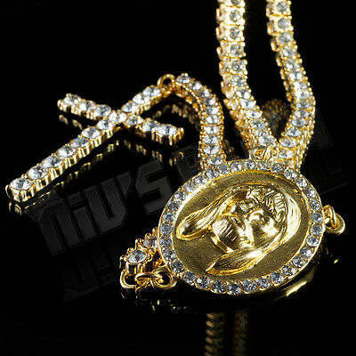 "30"" 14k Gold 1 Row CZ ICED OUT ROSARY Jesus Cross Pendant Necklace Chain Hip Hop"