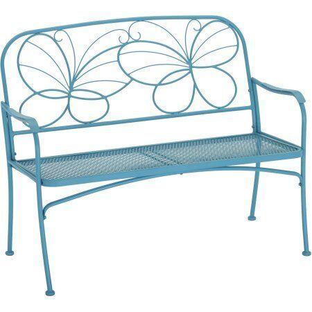 Butterfly Garden Bench Outdoor Porch Patio Seat Furniture Metal Blue Yard  Decor | EBay