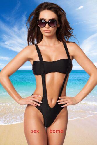 S di m di cinghie di l Fashion sexy Etichette nero cinghie Glamour di monokini costume costume 7SfPfYqw