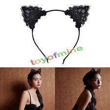 Vincha con Orejas de Gato de Encaje Negro Fancy Dress Gallina Fiesta Kitty Banda