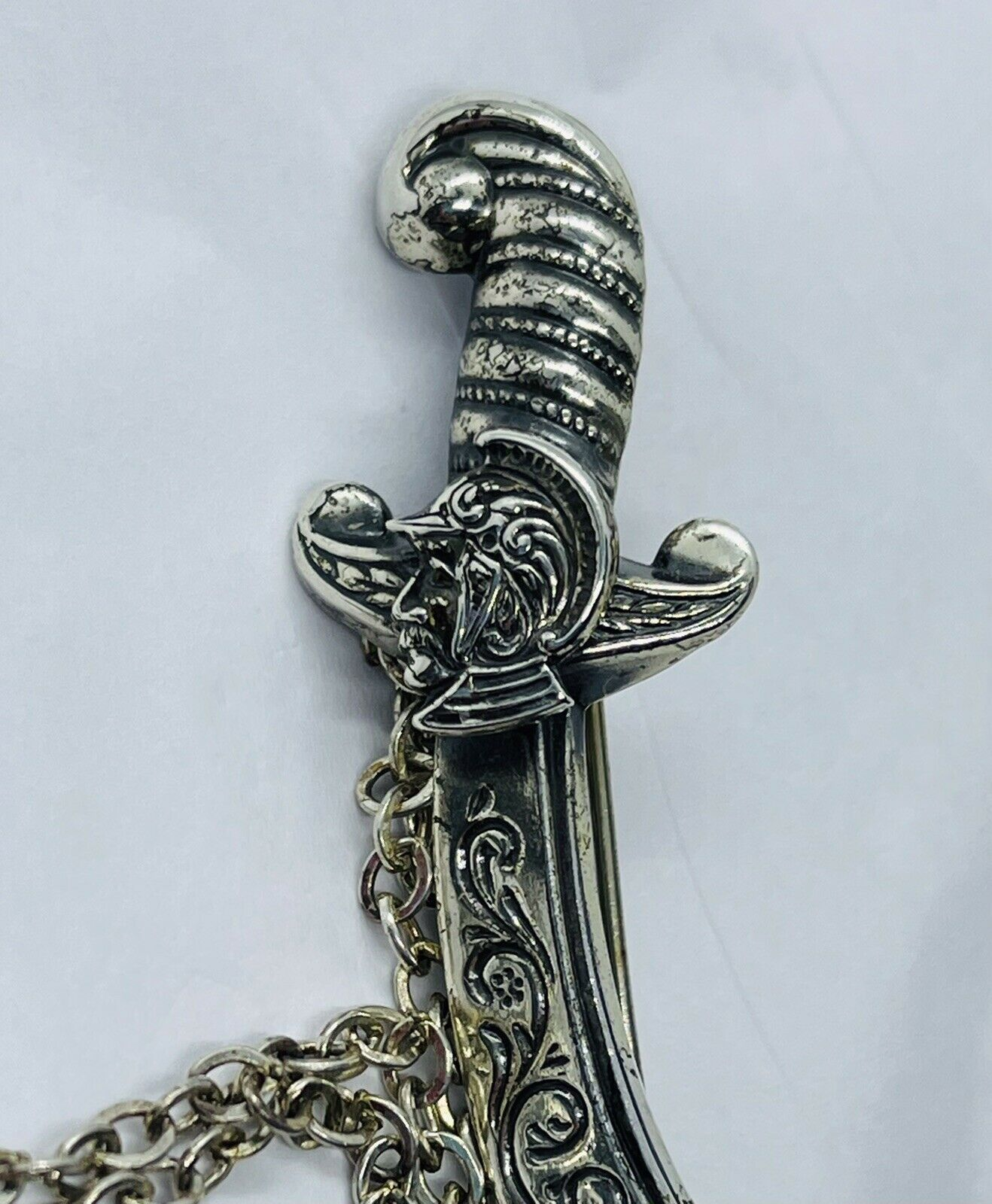 Vintage Sterling Sword with Turban Man  Monkey brooch with turquoise
