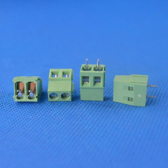 10PCS 2 Pin Plug-in Screw Terminal Block Connector Pitch Panel PCB Mount green