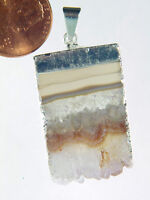 Butw Silver Electroformed Amethyst Geode Slice Pendant With Sp Chain 9789k