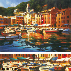40W-034-x30H-034-PORTOFINO-COLORS-by-MICHAEL-O-039-TOOLE-MEDITERRANEAN-MARINE-CANVAS