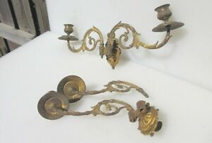 Antique Brass Piano Candle Holder Light Lamp Sconces Victorian Old Rococo French