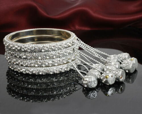 Indian Handmade Hanging Latkan Bangle Set Churi 4Pcs Bollywood Bridal Se Jewelry
