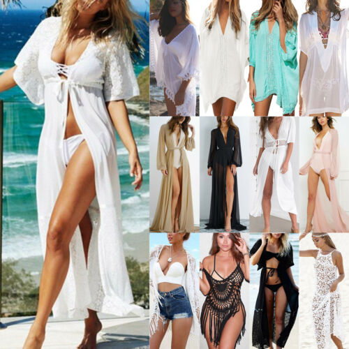 Damen Bikini Cover Up Spitze Kimono Cardigan Sommer Strandkleid Langshirt Bluse