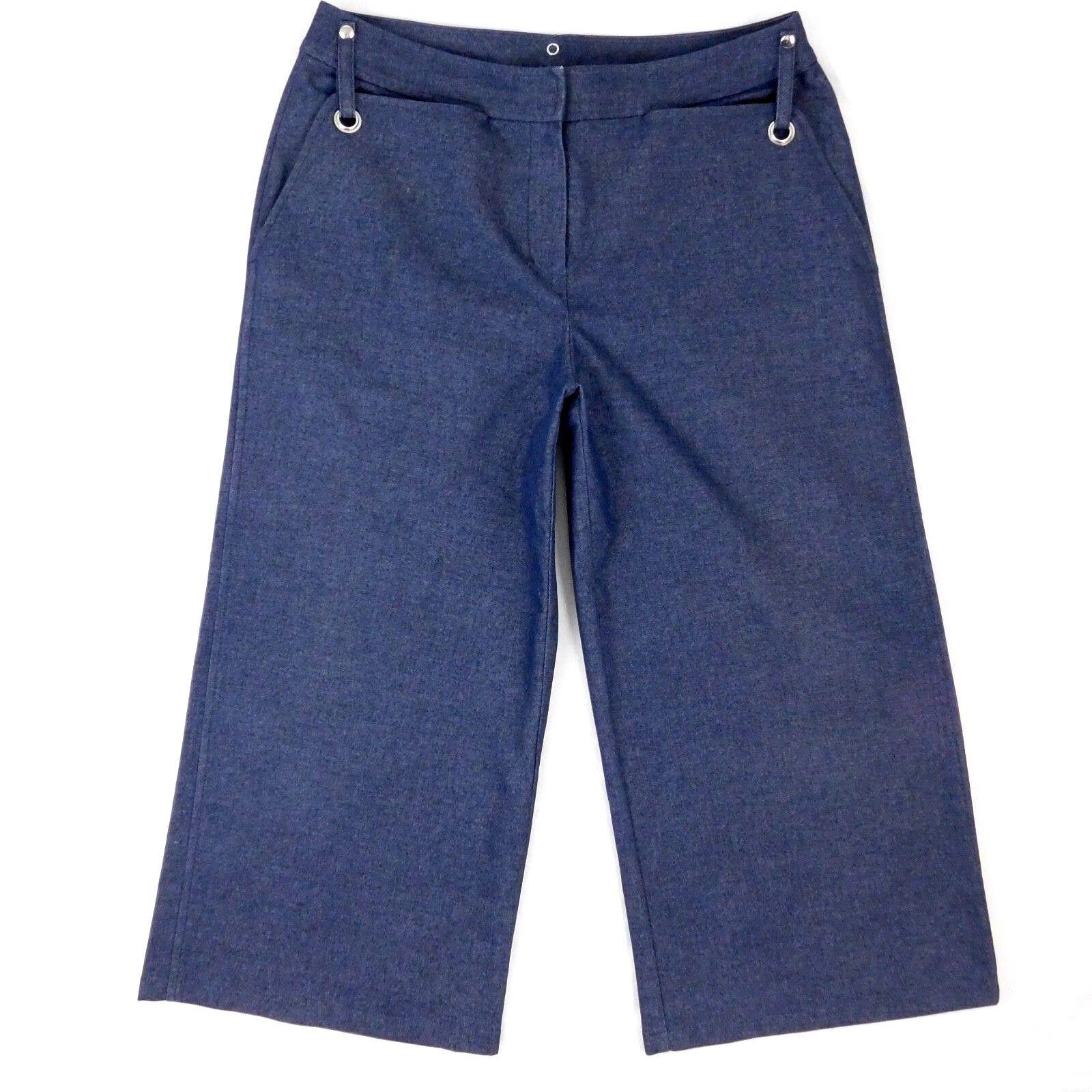 St John Sport Crop Wide Leg Denim Jean Culottes Trousers 12Size