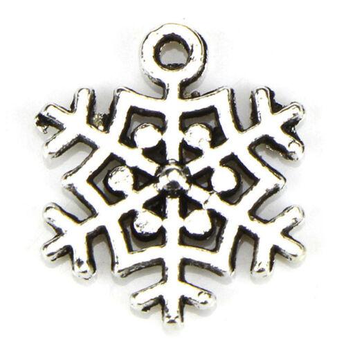 10PCS Tibetan Silver Christmas Snowflake Pendants Charms DIY Jewelry Findings  X
