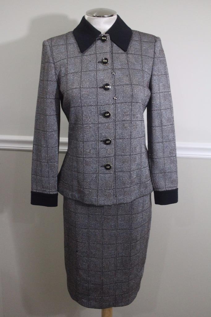 ST.JOHN COLLECTION metallic  plaid  & White Plaid Skirt Suit SIZE 4 2 (JO100