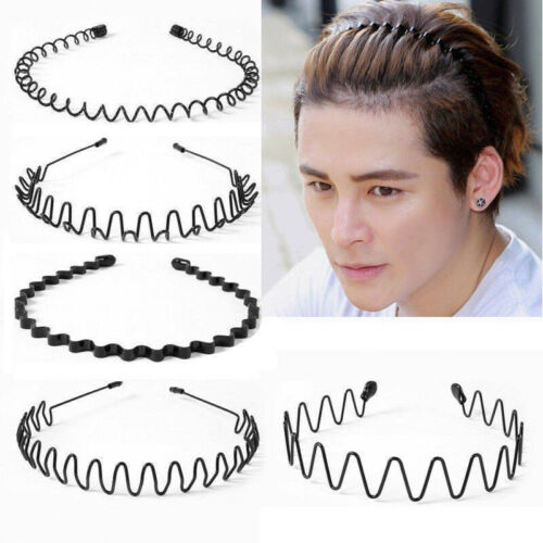 Herren Damen Metallband Haarspange Haarreif Haarband Stirnband Headwear Schwarz