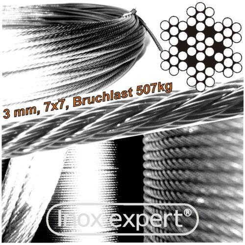 VA-Seil 3,0 mm 7X7 Drahtseil Edelstahl A4 Stahlseil NIROSTA Seilzug NIROSEIL V4A