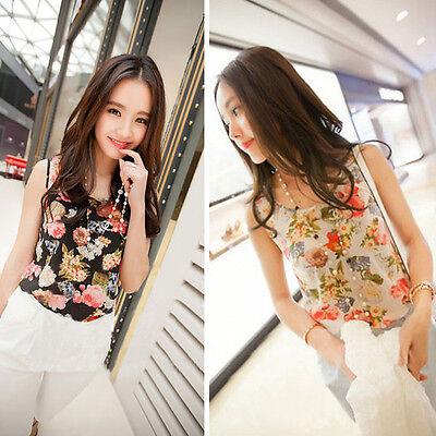 Pretty 1PC Women Casual Chiffon Sleeveless Flower Shirt Blouse Vest Tank Tops