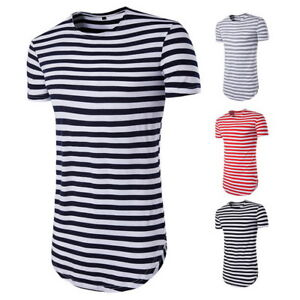 ee0d85b87c69 Summer Men Longline Curved Hem T-shirt Tops Street Striped Long Body ...