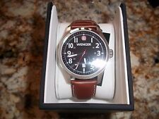 swiss army Wenger Men's 0541.102 Terragraph  black face Brown leather Watch