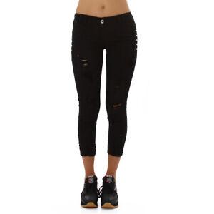 Jeans Ladies Skinny Jeans 7/8 Jeans Trousers Used Look with Rhinestones