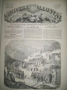 SYRIE-RUINES-DEIR-EL-KAMAR-MESSE-MILITAIRE-AFRIQUE-TRIBU-BAKOBAS-GRAVURES-1860