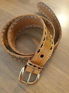 Double-J-Branded-Western-Cowboy-Handtooled-Leather-Belt-Stitch-Detail-Sz-36