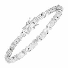 'XO' Tennis Bracelet with Diamonds in Rhodium-Plated Brass, 6.75""