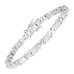 'XO' Tennis Bracelet with Diamonds in Rhodium-Plated Brass, 6.75
