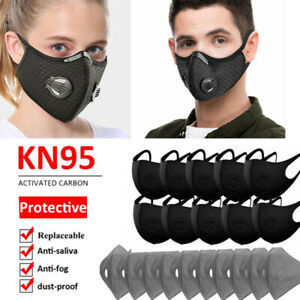 Reusable Face Mouth Maske W/Valve & 3/4/5 Layer Insert Filter Pad Safety Outdoor