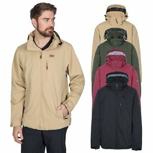 Trespass-Weir-Mens-Waterproof-Jacket-With-Hood-Breathable-Rain-Coat-Check-Lining