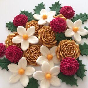 Details About Festive Bouquet Edible Sugar Paste Flowers Christmas Cake Decorations Toppers