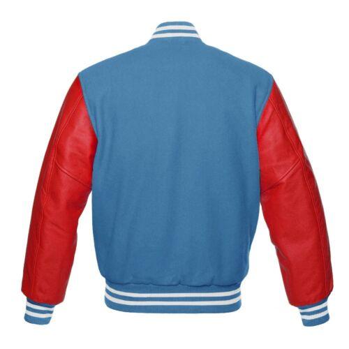 Bleu ciel Laine Varsity Bomber vestes avec rouge en cuir véritable manches Letterman