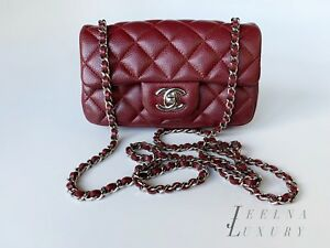Auth-Chanel-Burgundy-CAVIAR-Dark-Red-Classic-Extra-Mini-Flap-Crossbody-Bag-SHW