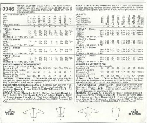 McCall/'s 3946 Misses/' Blouses *Extremely Rare*   Sewing Pattern