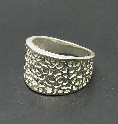 STERLING SILVER RING SOLID 925 FLORAL BAND NEW SIZE G V R000717 EMPRESS