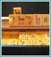 Old Butterscotch Bakelite Mah Jong Set in Case 150+ Tiles plus Racks and Dice