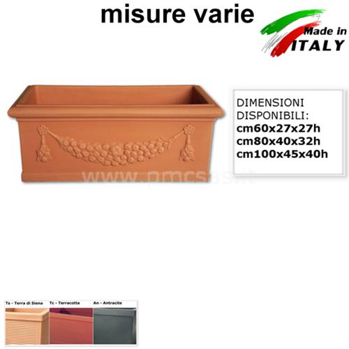 FIORIERE IN PLASTICA IDRA CASSETTA FESTONATA DA CM60 A CM100 VASI RETTANGOLARI