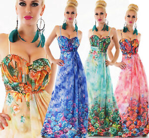 Vestito-donna-abito-lungo-chiffon-elegante-cerimonia-floreale-amp-perline-nuovo