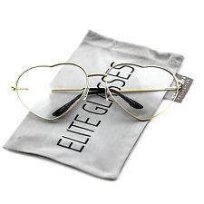 HEART-SHAPED Women LOVE Modern Retro Clear Lens Metal Frame Eye Glasses