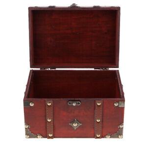 Vintage-Wooden-Jewelry-Storage-Case-Treasure-Chest-Box-Home-Table-Decor-B