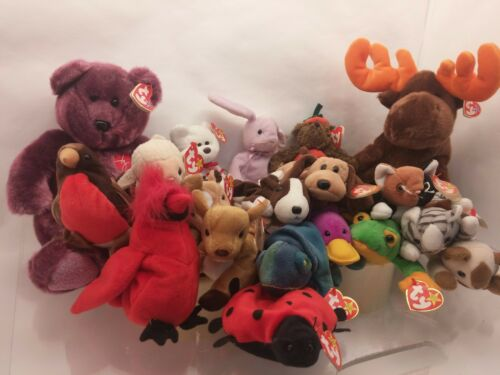 19 PC LOT Over 5lbs w Errors Beanie Babies Valentino Mac Lucky Floppity Rainbow