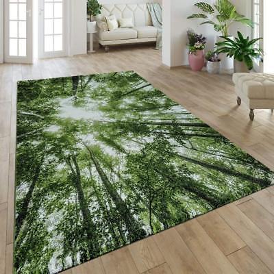 Green Rugs Modern Trees Patterned Carpet Small Large Living Room Bedroom Mat New Ebay