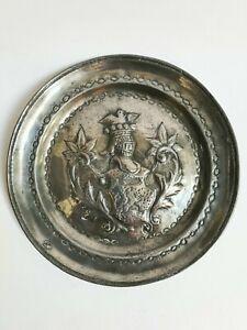 Antik Teller aus Zinn Dekoration Wappen Haute Ära Des 17ème Oder 18ème