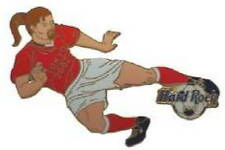 Hard Rock Cafe TOKYO 2002 World Cup Soccer PIN Player Kicking Ball - HRC #15855