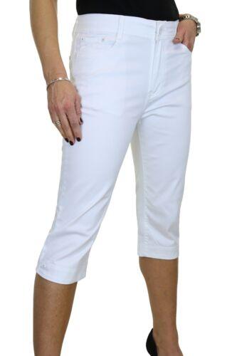 Chino Stretch Capri Crop Leg Jeans Diamante Cuff White NEW 14-24