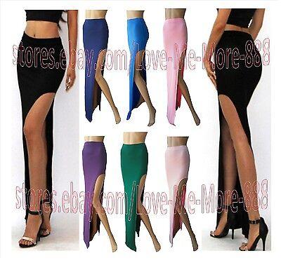 New Womens Side high split slit slim Party Club Casual Long Maxi SKIRTS Dress