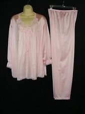 Vanity Fair Medium Pink Nylon L/S Pajama Set Lace Trimmed Top cd sis