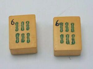 2-VINTAGE-MATCHING-CREAM-YELLOW-BAKELITE-MAHJONG-MAH-JONG-TILES