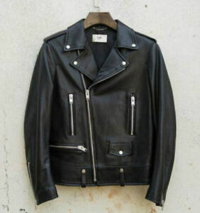 d4243ce60820 Image is loading MENS-BLACK-WASH-LEATHER-MOTORCYCLE-JACKET-VINTAGE-SLIM-