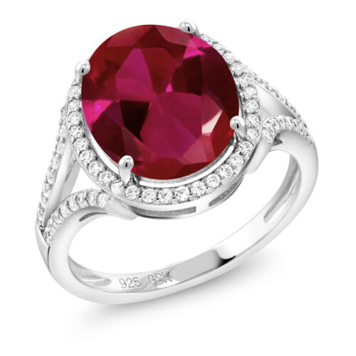 5.82 Ct Oval Red Created Ruby 925 Sterling Silver Ring