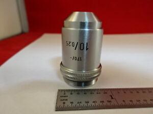100% Vrai Microscope Pièce Objectif Leitz Wetzlar Allemagne 10x 170 / Optiques Tel Quel
