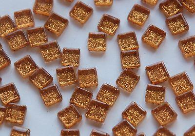 100 Mosaiksteine Glitzer 1x1cm Glasmosaik Glitter Mosaik Fliesen rotgold ca. 85g