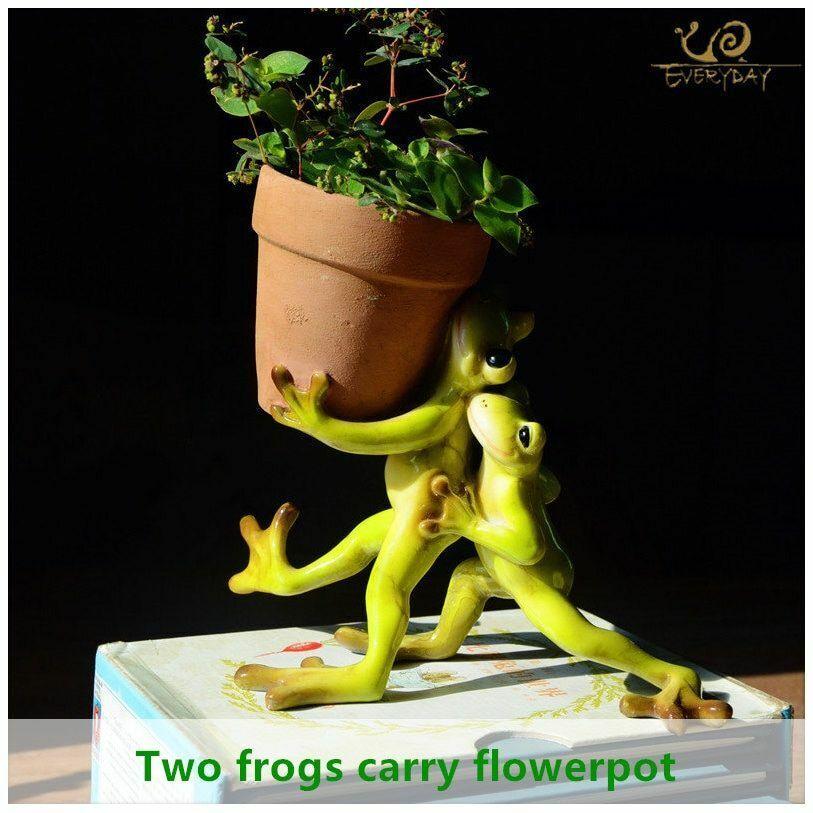 Mini Flower Pot Fairy Garden Animal Frog succulent pot Outdoor Home Decoration