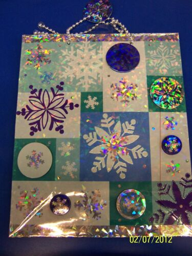 Frosty Snowflakes Blue Winter Christmas Holiday Party Deluxe Large Gift Bag